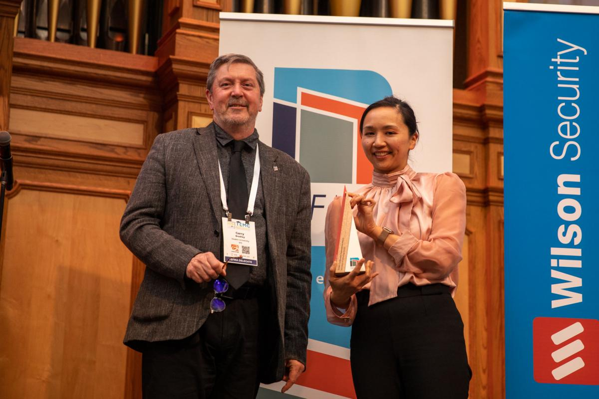 Natalie Lau, UTS, with TEFMA President, Garry Bradley